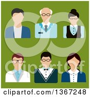 Clipart Of Flat Design Faceless Professor And Teacher Avatars On Green Royalty Free Vector Illustration by Vector Tradition SM