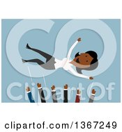 Clipart Of A Flat Design Happy Black Business Woman Being Tossed In A Mosh Pit Of Colleagues On Blue Royalty Free Vector Illustration by Vector Tradition SM