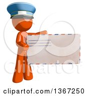 Clipart Of An Orange Mail Man Wearing A Hat Holding An Envelope Royalty Free Illustration