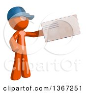 Clipart Of An Orange Mail Man Wearing A Baseball Cap Holding An Envelope Royalty Free Illustration by Leo Blanchette