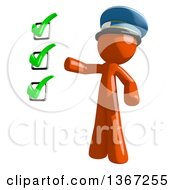 Clipart Of An Orange Mail Man Wearing A Hat And Presenting A Check List Royalty Free Illustration