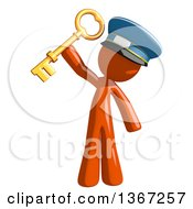 Clipart Of An Orange Mail Man Wearing A Hat Holding A Skeleton Key Royalty Free Illustration