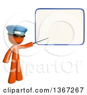 Clipart Of An Orange Mail Man Wearing A Hat Holding A Pointer Stick To A White Board Royalty Free Illustration