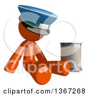 Clipart Of An Orange Mail Man Wearing A Hat Begging And Sitting With A Can Royalty Free Illustration