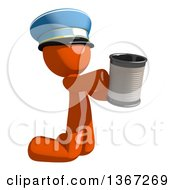 Orange Mail Man Wearing A Hat Begging And Kneeling With A Can