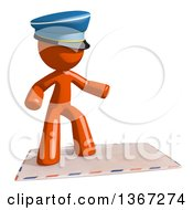 Clipart Of An Orange Mail Man Wearing A Hat Surfing On An Envelope Royalty Free Illustration