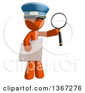 Clipart Of An Orange Mail Man Wearing A Hat Holding A Magnifying Glass And An Envelope Royalty Free Illustration