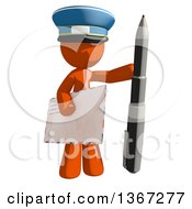 Clipart Of An Orange Mail Man Wearing A Hat Holding A Pen And An Envelope Royalty Free Illustration