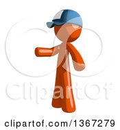 Clipart Of An Orange Mail Man Wearing A Baseball Cap And Presenting To The Left Royalty Free Illustration