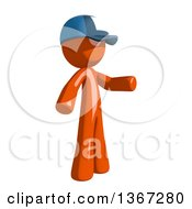Clipart Of An Orange Mail Man Wearing A Baseball Cap And Presenting To The Right Royalty Free Illustration