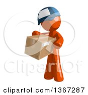 Clipart Of An Orange Mail Man Wearing A Baseball Cap Holding A Box Royalty Free Illustration by Leo Blanchette