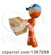 Clipart Of An Orange Mail Man Wearing A Baseball Cap Holding A Box Facing Left Royalty Free Illustration by Leo Blanchette