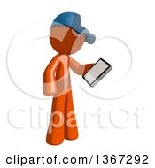 Orange Mail Man Wearing A Baseball Cap Looking At A Smart Phone