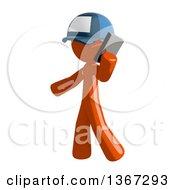 Orange Mail Man Wearing A Baseball Cap Talking On A Smart Phone