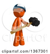 Clipart Of An Orange Mail Man Wearing A Baseball Cap Holding A Sledgehammer Royalty Free Illustration