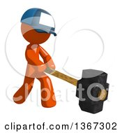 Clipart Of An Orange Mail Man Wearing A Baseball Cap Swinging A Sledgehammer Royalty Free Illustration
