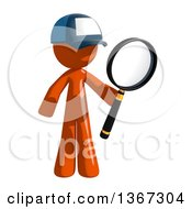 Clipart Of An Orange Mail Man Wearing A Baseball Cap Searching With A Magnifying Glass Royalty Free Illustration