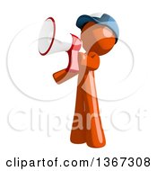 Clipart Of An Orange Mail Man Wearing A Baseball Cap Announcing With A Megaphone Royalty Free Illustration