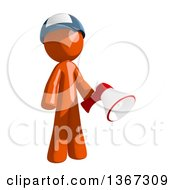Clipart Of An Orange Mail Man Wearing A Baseball Cap Holding A Megaphone Royalty Free Illustration