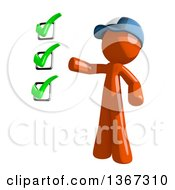 Clipart Of An Orange Mail Man Wearing A Baseball Cap Presenting A Check List Royalty Free Illustration