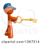 Clipart Of An Orange Mail Man Wearing A Baseball Cap Holding A Skeleton Key Royalty Free Illustration