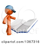 Clipart Of An Orange Mail Man Wearing A Baseball Cap Reading A Giant Book Royalty Free Illustration