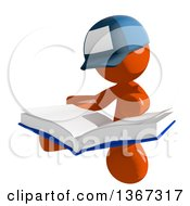 Clipart Of An Orange Mail Man Wearing A Baseball Cap Sitting And Reading A Book Royalty Free Illustration