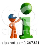 Clipart Of An Orange Mail Man Wearing A Baseball Cap With A Green I Information Icon Royalty Free Illustration
