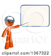 Clipart Of An Orange Mail Man Wearing A Baseball Cap Holding A Pointer Stick To A White Board Royalty Free Illustration