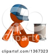 Orange Mail Man Wearing A Baseball Cap Begging And Sitting With A Can