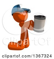 Orange Mail Man Wearing A Baseball Cap Begging And Kneeling With A Can