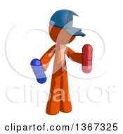 Clipart Of An Orange Mail Man Wearing A Baseball Cap Holding Pills Royalty Free Illustration by Leo Blanchette