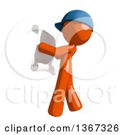 Clipart Of An Orange Mail Man Wearing A Baseball Cap Reading A List Facing Left Royalty Free Illustration