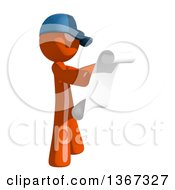 Clipart Of An Orange Mail Man Wearing A Baseball Cap Reading A List Facing Right Royalty Free Illustration