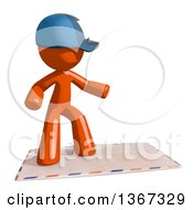 Clipart Of An Orange Mail Man Wearing A Baseball Cap Surfing On An Envelope Royalty Free Illustration
