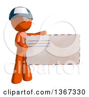 Clipart Of An Orange Mail Man Wearing A Baseball Cap Holding An Envelope Royalty Free Illustration