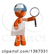 Clipart Of An Orange Mail Man Wearing A Baseball Cap Holding Magnifying Glass And An Envelope Royalty Free Illustration