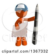 Clipart Of An Orange Mail Man Wearing A Baseball Cap Holding A Pen And An Envelope Royalty Free Illustration