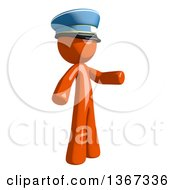 Clipart Of An Orange Mail Man Wearing A Hat And Presenting To The Right Royalty Free Illustration