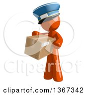 Clipart Of An Orange Mail Man Wearing A Hat Holding A Box Royalty Free Illustration by Leo Blanchette