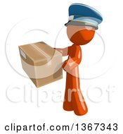 Clipart Of An Orange Mail Man Wearing A Hat Holding A Box Facing Left Royalty Free Illustration