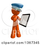 Clipart Of An Orange Mail Man Wearing A Hat Using A Tablet Computer Royalty Free Illustration