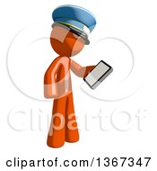 Clipart Of An Orange Mail Man Wearing A Hat Looking At A Smart Phone Royalty Free Illustration