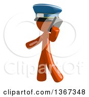 Clipart Of An Orange Mail Man Wearing A Hat Talking On A Smart Phone Royalty Free Illustration