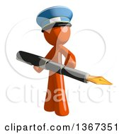Clipart Of An Orange Mail Man Wearing A Hat Holding A Fountain Pen Royalty Free Illustration by Leo Blanchette