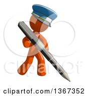 Clipart Of An Orange Mail Man Wearing A Hat Holding A Pen Royalty Free Illustration by Leo Blanchette