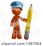 Clipart Of An Orange Mail Man Wearing A Hat Holding A Pencil Royalty Free Illustration by Leo Blanchette