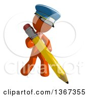 Clipart Of An Orange Mail Man Wearing A Hat Holding A Pencil Royalty Free Illustration