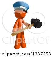 Clipart Of An Orange Mail Man Wearing A Hat Holding A Sledgehammer Royalty Free Illustration