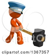 Clipart Of An Orange Mail Man Wearing A Hat Swinging A Sledgehammer Royalty Free Illustration